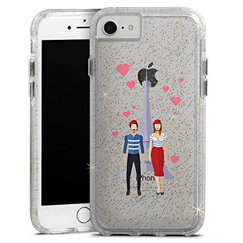 Apple iPhone 7 Bumper Hülle Bumper Case Glitzer Hülle Paris Eiffelturm Liebe Bumper Case Glitzer gold