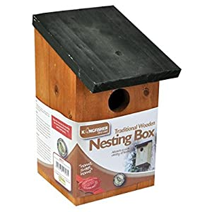 Kingfisher Outdoor Garden Traditional Wooden Bird Nesting Box