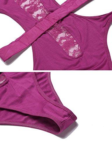 Avidlove Damen Erotik Body Neckholder Rückenfrei Bodysuit Lingerie Stringbody Ärmellos Body Unterhemd Dessous Set Clubwear Tops Overalls Jumpsuit Violett