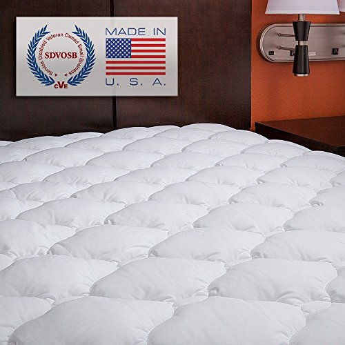 eLuxurySupply Mattress Topper Small Single Bed - Extra Plush and Extra Thick Quilted Fitted Mattress Pad - Made in America - Small Single: 75 x 190 cm