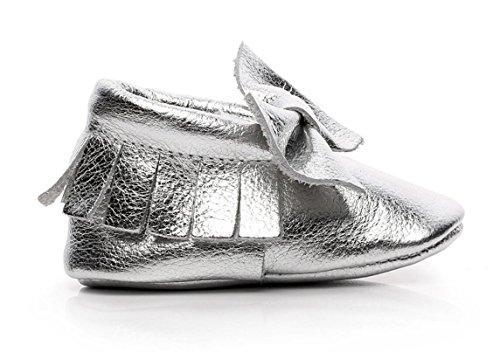 Backbuy Chaussons Pour Bébé à Cuir Arc Chaussures Premiers Pas Filles Argent