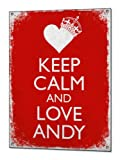 Beenanas Keep Calm and Love Andy BVB Vintage Metal Sign Retro Tin Plaque Poster Blechschilder
