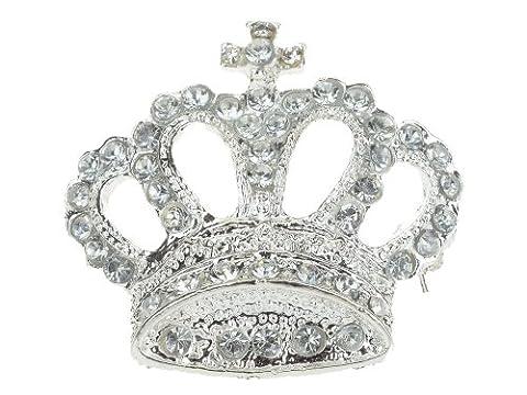 Imixlot Women's Clear Rhinestone Crystal Royal Crown Brooch Pin Stylish Lady Women Formal Prom Bridal Wedding Party Silver Tone Corsage Brooch Costume Jewelry
