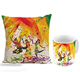 Happy Holi latest and modern design for holi gift cushion cover 12 x 12 with filler and Ceramic mug 350ml specially for holi gift by Style Crome