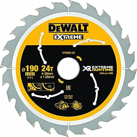DEWALT DT99562 190 mm x 30 mm x 24 T XR Extreme Runtime Circular Saw Blade - Yellow/Black