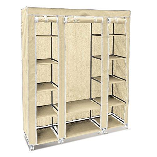 Relaxdays 10018857-127 armadio pieghevole, tessuto, con barra porta abiti, 12 ripiani totali, ideale come guardaroba, 46 x 148 x 175 cm, beige