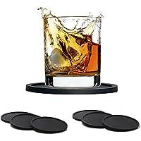 Silicona Antideslizante Posavasos, GKONGU 6 Piezas Tacto Suave de Goma Posavasos Bebida Copa Mat Lavable Bar Bebida Posavasos