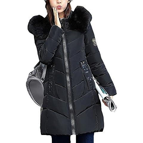 SaiDeng Chaqueta Abrigo Parka Con Capucha De Fur Trim Para Mujer Negro L