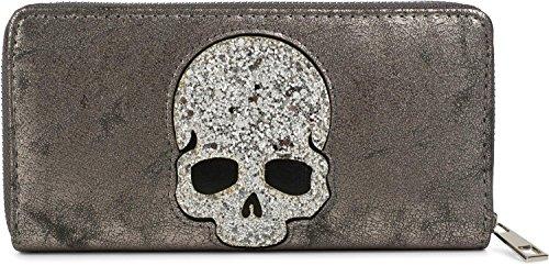 styleBREAKER monedero con aplicación de calavera de lentejuelas, cremallera circular, cartera, señora 02040085, color:Gris oscuro antiguo