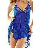 NINGMI Sexy Babydoll Lingerie Lace Nightwear Outfits Dress Set