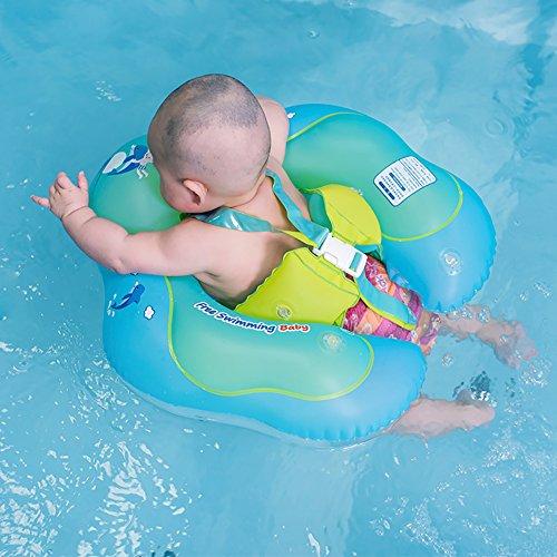 Pueri aufblasbare Baby-Schwimmhilfe, Schwimmring, Taillenring, für Kinder, Schwimmbad-Zubehör, mit Rückenlehne und Gurt für Kinder/Kleinkinder, Large