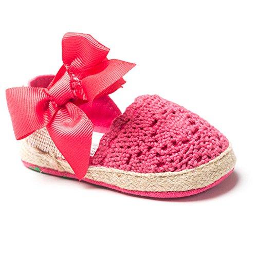 LeapFrog Neugeborenes Baby-H?kelarbeit weichbesohlte Bow Prewalker Sandalen Kleinkind Schuhe Rose