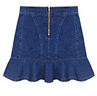 Tootlessly Women's Summer Slim Fit High-waisted Trumpet Mini Skirt Denim blue XXS