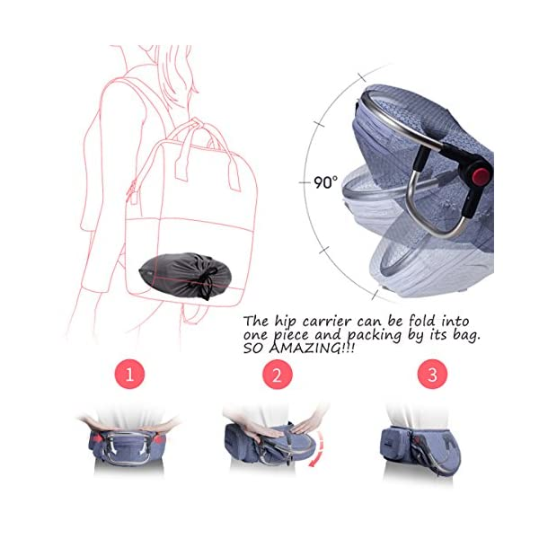 Bebamour Foldable Baby Carrier Hip Seat Baby Carrier Newborn to Toddler with Large Pockets Ergonomic Toddler Waist Seat for 0-36 Months (Light Grey) bebear ❤️Unique Designed - The baby carrier can be foldable. There is a foldable aluminum tube support in the hip seat. When you going out, you can folding the hip seat and put into the pouch easily. ❤️Two Zipper Pockets - 1 front zipper pocket can put bottles, diapers. 1 side zipper pocket fits cellphone or other small things. It is good for you to take your baby outside without bag. ❤️Three Carry Styles: Horizontal Position, Facing Inward and Facing Forward Position. Weight 33 pounds and for your baby who is 0-36 months. 3