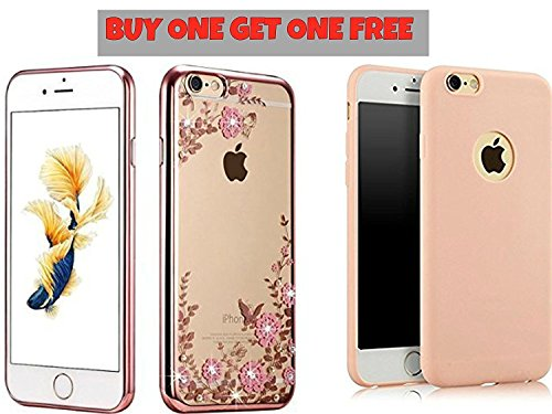 LOXXO BUY ONE GET ONE FREE!! iPhone 7 - Shockproof Silicone Soft TPU Transparent Auora Flower Case with Sparkle Swarovski Crystals Back Cover With Baby Pink Silicon Cover Absolutely Free!!