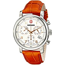 Wenger Urban Classic Chrono Men's Quartz Watch with White Dial Analogue Display and Brown Leather Strap 011043104
