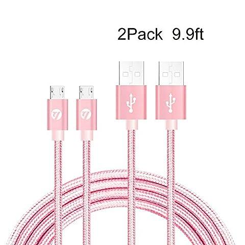 Câbles Tressé Câble Micro USB - Garantie à Vie -TUOYA Câble Samsung vers USB Chargeur en Nylon Tressé, Synchronisation Rapide Chargeur Recharge Android chargeur câbles avec Aluminium Connecteur Robuste pour Samsung Galaxy S7 Edge / S6 / S5 / S4, Note 5/4/3, HTC M9 , Xperia Z3 Z2, Moto X, LG, Sony, tablettes et Power (2pack-9.9ft/3m, Rose)