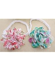Cabello accesorios dulce bebé niña con gasa encaje pelo flor Headband(2 pcs a set)