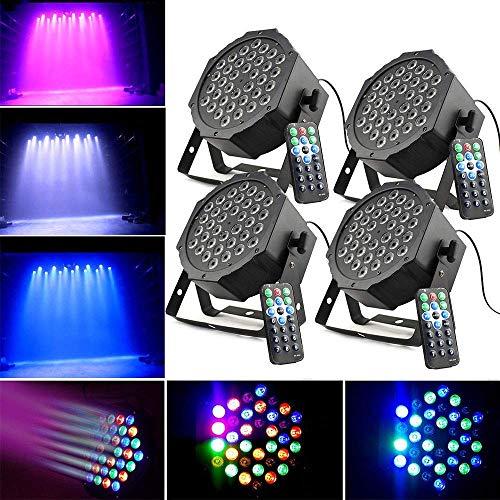 4 x Bühnenlicht Set 36W LED RGB Flat PAR Licht DMX 512 Bühncht Beleuchtung 7 Steuerkanäl LED Discokugel RGB Blitzlicht Disco Lichteffekte...