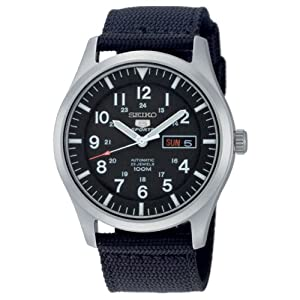 Reloj Seiko SNZG15K1 de caballero automático con correa textil negra - sumergible a 100 metros de Seiko
