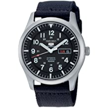 Seiko SNZG15K1 - Reloj analógico de caballero automático con correa textil negra - sumergible a 100 metros