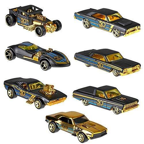(Hot Wheels 50th Anniversary Black & Gold + Bonus Camaro 7 Modellautos 1:64 FRN33)