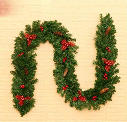 STEAM PANDA Disposition décorative de Style de Pays de rotin de PVC de rotin de décoration de Noël 270cm