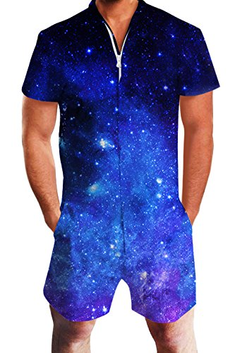 Aliens Kostüm Designer - chicolife Herren Strampler Overall Herren Zip up 3D Cooles Cartoon Grafik Designer Onesie Jumpsuit Strampelanzüge Strampler Overall Anzug mit Kurze ärmel Overalls Kurze Hose Rompers S-XL