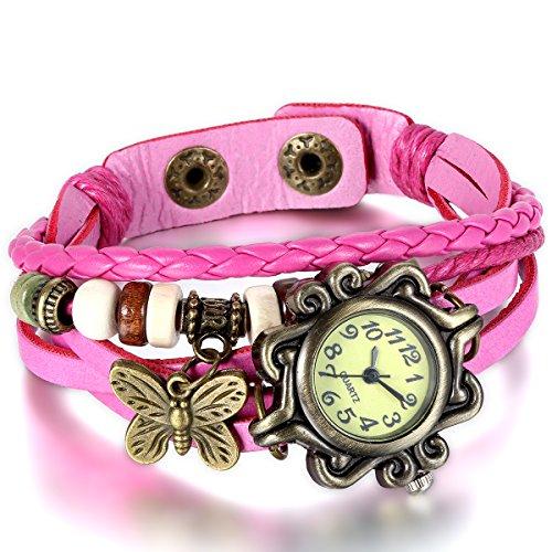 JewelryWe Damen Armbanduhr, Retro Vintage Analog Quarz Uhr mit Schmetterling Beads Kugeln Charm Leder Armkette Armband, Pink