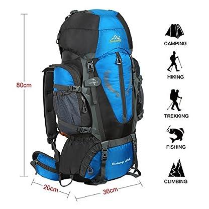 HWJIANFENG Backpack for Outdoor Sports Hiking Traveling Trekking Camping Waterproof Mountaineering Ultralarge Capacity Internal Frame Men Women 80L+5L 3