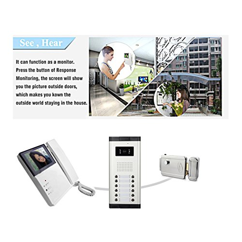 "Amocam 2 Apartment Wired Video Door Phone Intercom Telephone style System 4.3"" Monitor IR Camera Video Intercom DoorPhone Doorbell Kit For Apartments Villa 1V2"