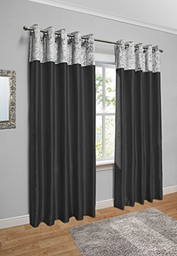 Crushed Velvet Band Faux Silk Eyelet Curtains (Black / Silver, 90″ Wide x 90″ Drop)