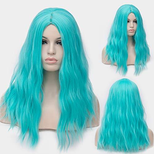 COOOOEENS Gerade Kurze 18 Zoll Frauen hellblaue Farbe Perücken für Cosplay Kunsthaar hitzebeständig (Hellblaue Perücke Kurze)