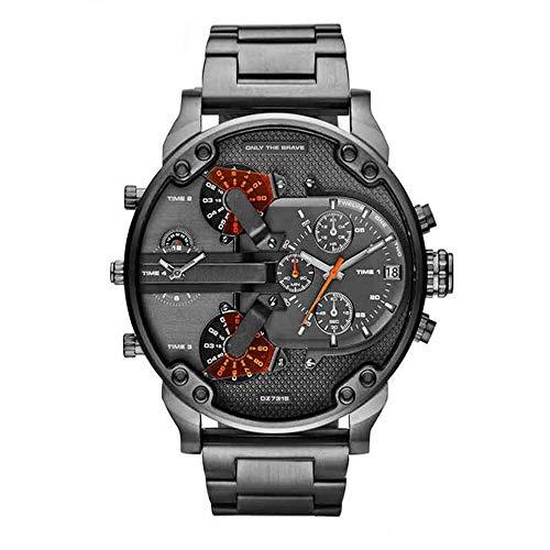 QSXF Herren Quarzuhr Edelstahlarmband Großes Zifferblatt 55mm Casual Fashion Outdoor Persönlichkeit Uhr, J