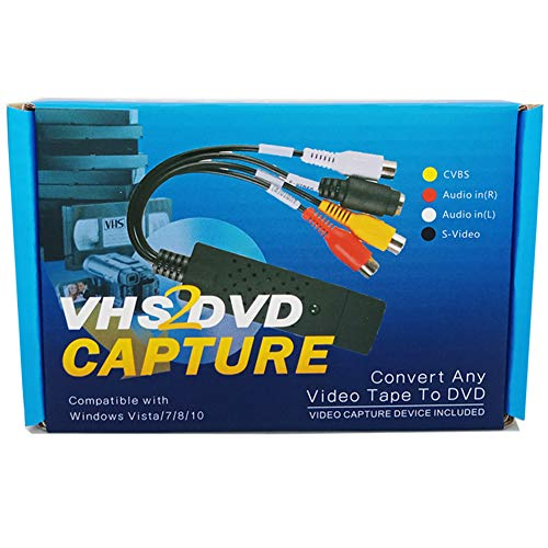 Lvozize VHS VCR Hi8 auf DVD Digitalisieren Konverter Adapter,USB Audio/Video-Grabber, für Windows 10/8.1/8/7 / Vista/XP (Video Converter 8mm)