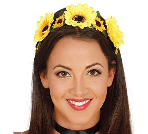 Guirca 70er Jahre Blumenkranz Haarband für Damen gelb Hippie Fasching Party - Gelbe König Kostüm