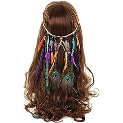 FANHOM Pluma de pavo real Banda para el cabello Tocado Hippie Venda de la borla Nativo americano Fuente Adorno para el pelo