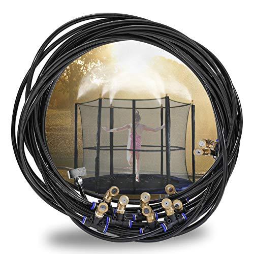 ACBungji Outdoor Misting System Zerstäuberfunktionssystem Bewässerungssystem Spray Kühlsystem Cooling Sprinkler System für Gärten Schwimmbad Ventilator Trampolin Misting System 10m Schwarz -