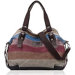 LOSMILE Multicolor rayas la lona de los totalizadores del bolso de las mujeres Hobos y bolsos de hombro.