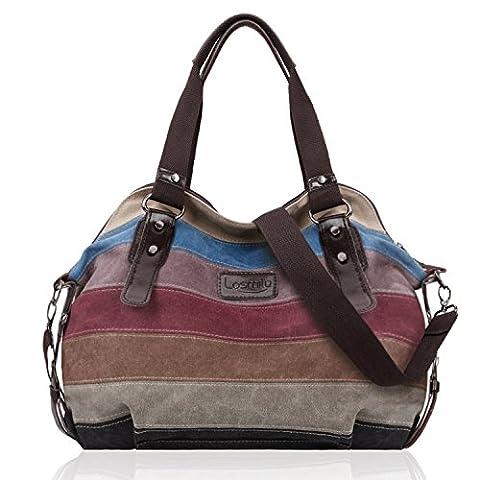 LOSMILE Multi-Color Striped Canvas Damen Handtasche / Umhängetasche,Mehrfarbig Canvas Schultertasche Hobo Bag.13 inch(H)*16 inch(L)*6