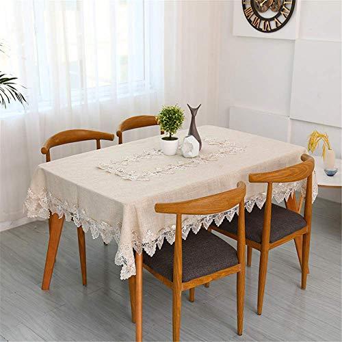 SONGHJ Pastoral Leinen Tischdecke hellgrau Baumwolle und Leinen Couchtischdecke quadratische Tischdecke Handtuch Tischdecke Mehrzwecktuch A 150x220cm