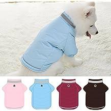Chaqueta Abrigo Lana de Mascotas Forrada Prenda de Ropa para Perros (AZUL, XL)