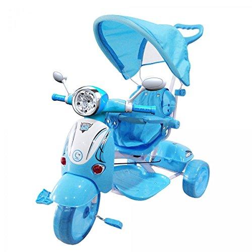 LGVSHOPPING Moto Triciclo a Spinta con Pedali Trico Special Per Bambini BICICLETTA Vespa Vespina 2 In 1 (Blu)