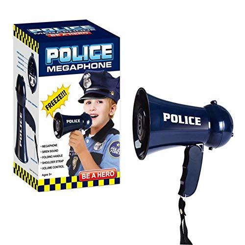 SUNDELLAO Simulation feuerwehrleute Horn Kunststoff megaphon Spielzeug Rolle Spielen mikrofon Laute öffentliche Polizei Sirene Pretend feuerwehrmann Spielzeug für Kinder, blau