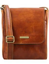 TUSCANY LEATHER - John - Sac en cuir pour homme avec zip frontal - Miel 670f4c1c859
