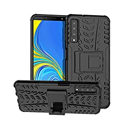 Gadget Giant Shockproof Case for Samsung Galaxy A7 2018 Heavy Duty Rugged Cover with Built-in Kick Stand