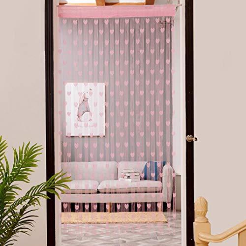 TPulling Liebe Herzförmigen Vorhang  Warp Stricken 50x200 cm Liebe Herz String Vorhang Fenster Tür Teiler Sheer Vorhang Valance (rosa) - Teiler Registerkarte