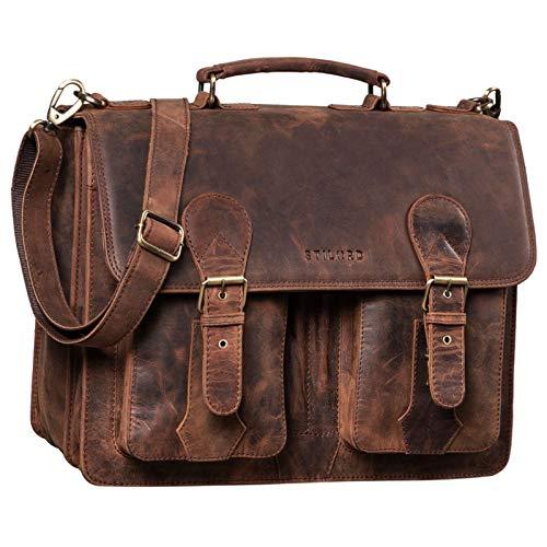 STILORD \'Kronos\' Aktentasche Leder Herren Lehrertasche Leder-Tasche Büro Business groß Arbeitstasche Umhängetasche Vintage Echtleder aufsteckbar, Farbe:Sepia - braun