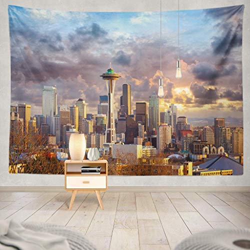 Tapisserie Seattle Skyline Sunset USA Skyline Needle Space USA City Sunset Downtown Landmark Office Scene Urban Evening Decorative Tapestry,60X80 Inches Wall Hanging Tapestry for Bedroom Living Room