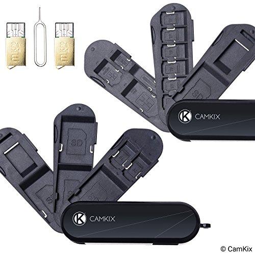 2x Aufbewahrungsgehäuse für Speicherkarten - 2x Micro SD Kartenleser (USB) - 1x Stift zum Auswerfen - Taschenmesser Design - 5x SD, 8x Micro SD, 1x Mini SIM, 1x Micro SIM und 1x Nano SIM (Iphone Sim-karte Auswerfen)